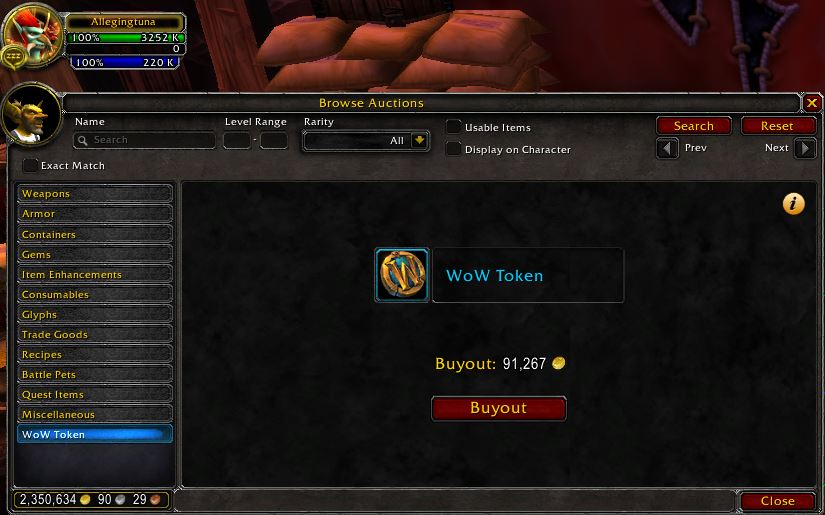 Purchase WoW Tokens for gold in the Auction House