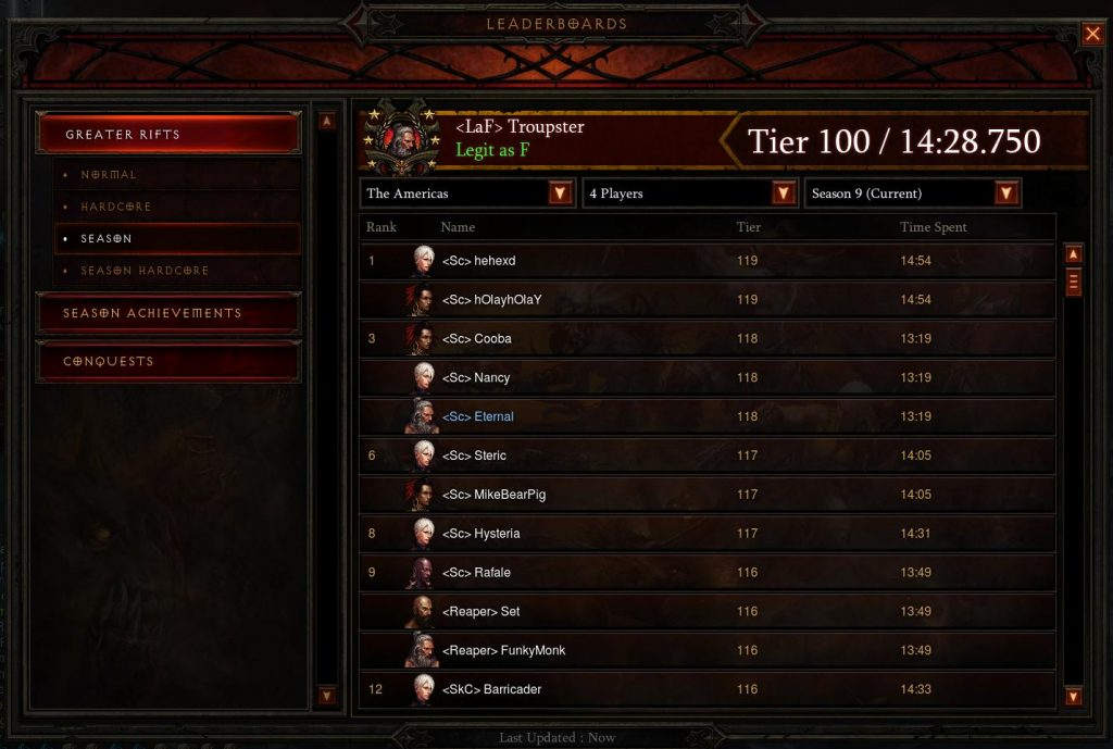 Diablo 3 4 Man Season 9 Leaderboard showing Banwave