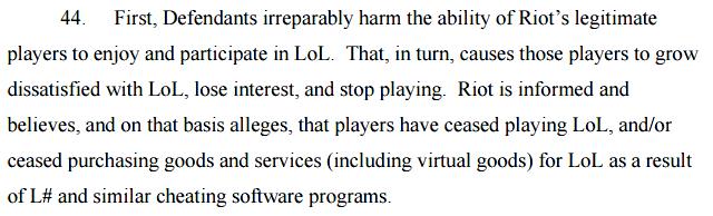 Riot's Lawsuit against LeagueSharp Section 44 showing damages @ Troupster.com